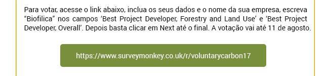 Biofílica concorre a prêmio mundial de projetos florestais